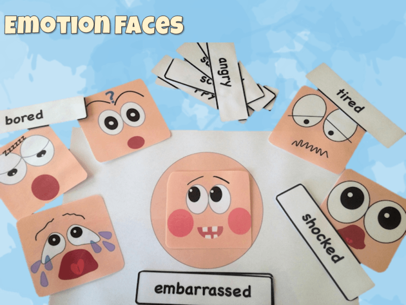 Emotion face and cards