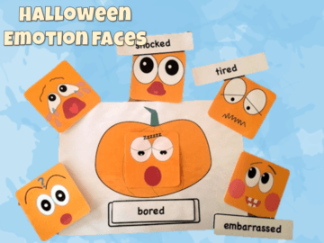 Halloween emotion face and cards
