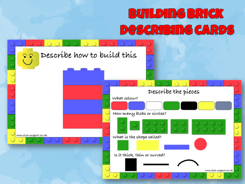 Building Bricks Describing Cards