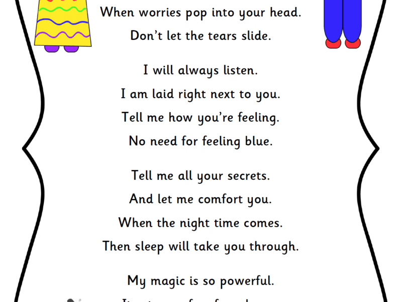 picture about Keep a Poem in Your Pocket Printable referred to as Fret Doll Poem - ELSA Provider