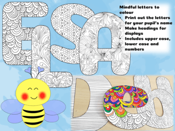 Mindful Letters for colouring