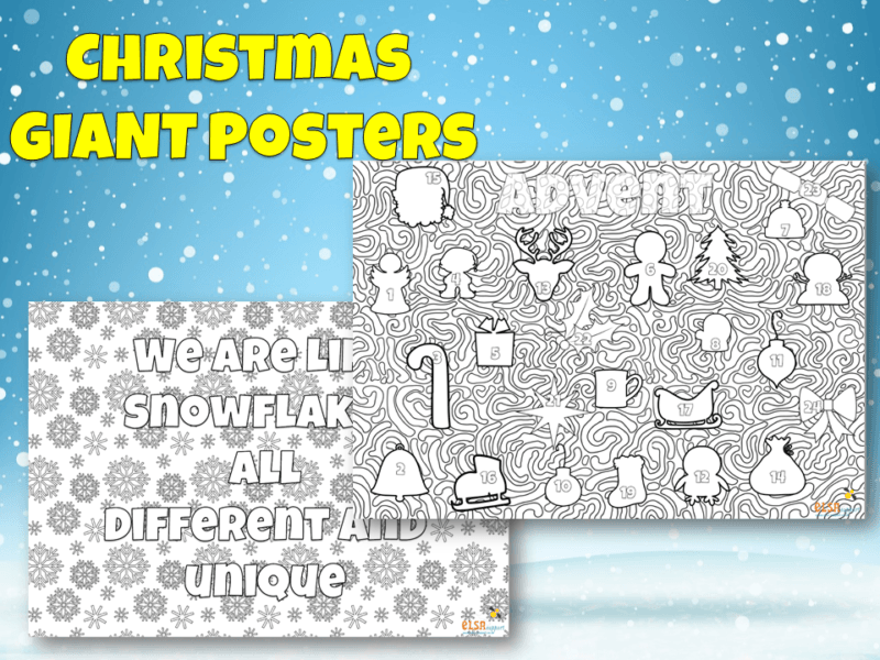 Giant Christmas Mindful colouring posters