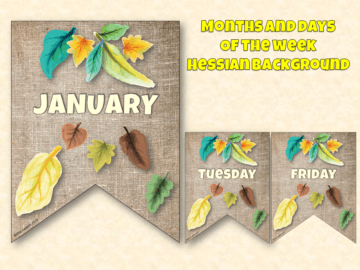 Bunting for natural displays by month or day