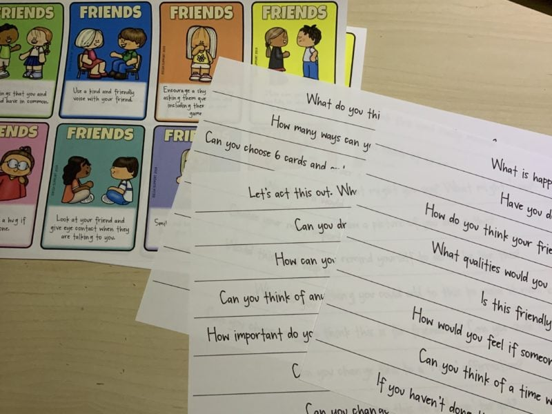 Questions to ask for our how to be a good friend cards