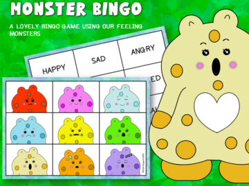 Monster emotions bingo game
