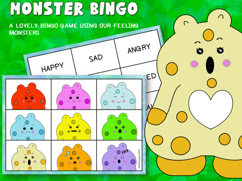 Monster emotions bingo game