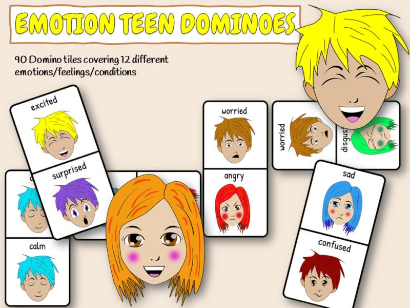 Teen emotion dominoes