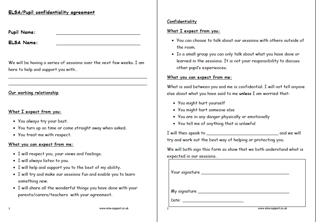 Confidentiality agreement Elsa Support – Confidentiality Agreement Form