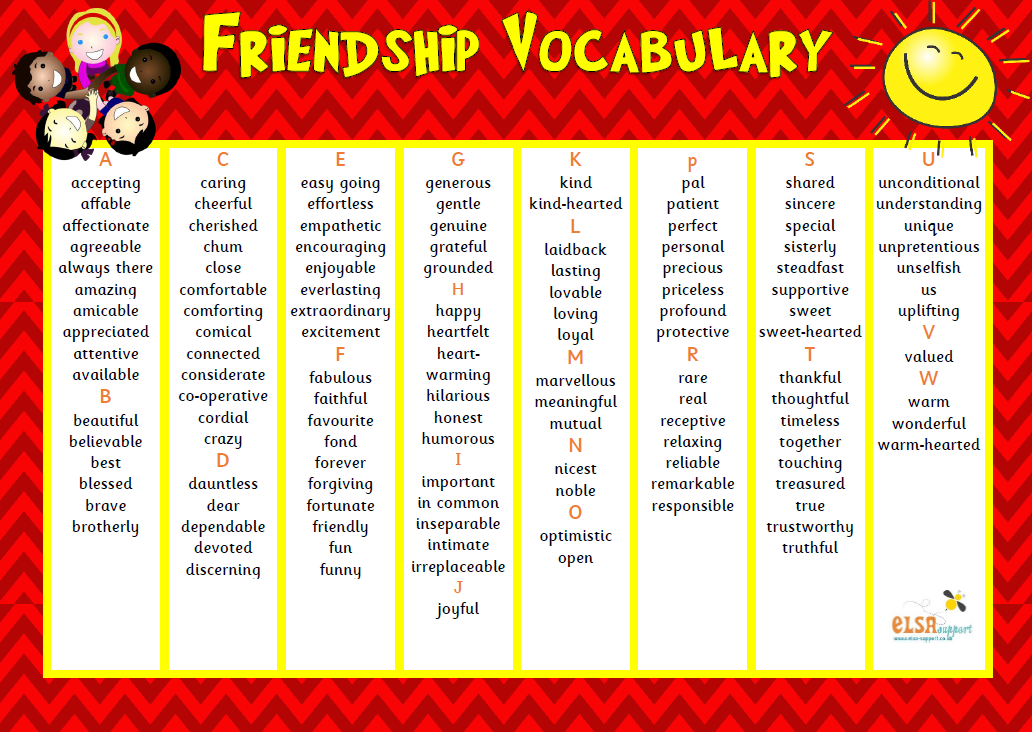 Friendship vocabulary image