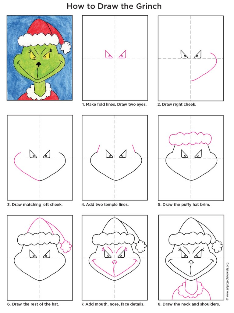 Grinchdiagram768x1024 The Grinch Activity Elsa Support How To Draw A Cute  Kawaii Face (girl)