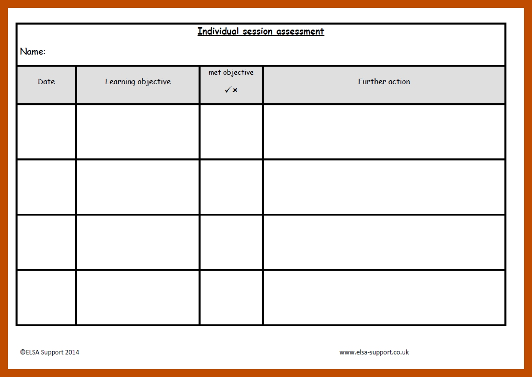 Target and assessment sheets - Elsa Support