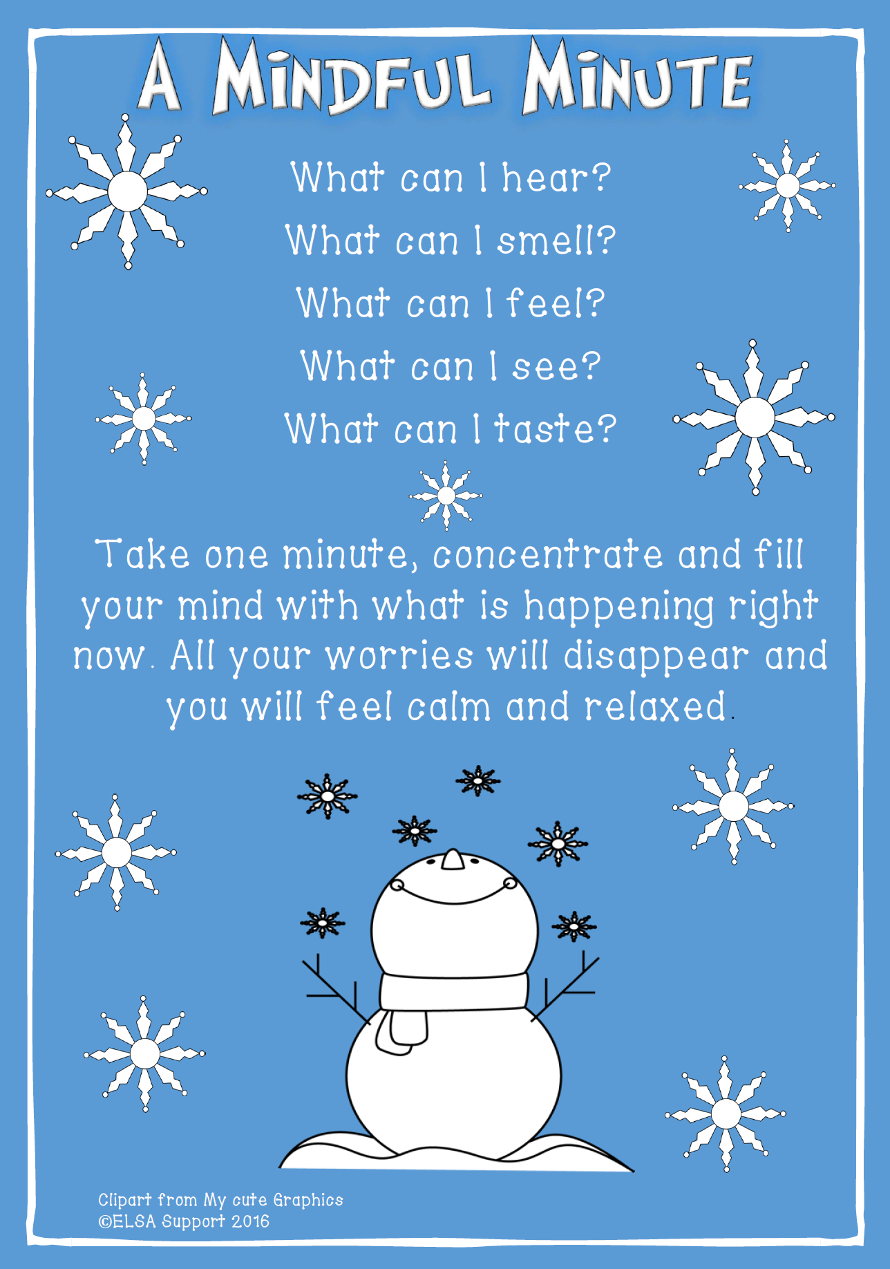 Take Mindful Minute on Social Skills Group Activities For Kids