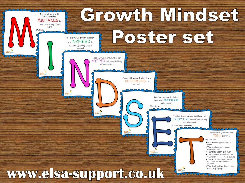 Classroom Decoration ~ Growth mindset poster set elsa support
