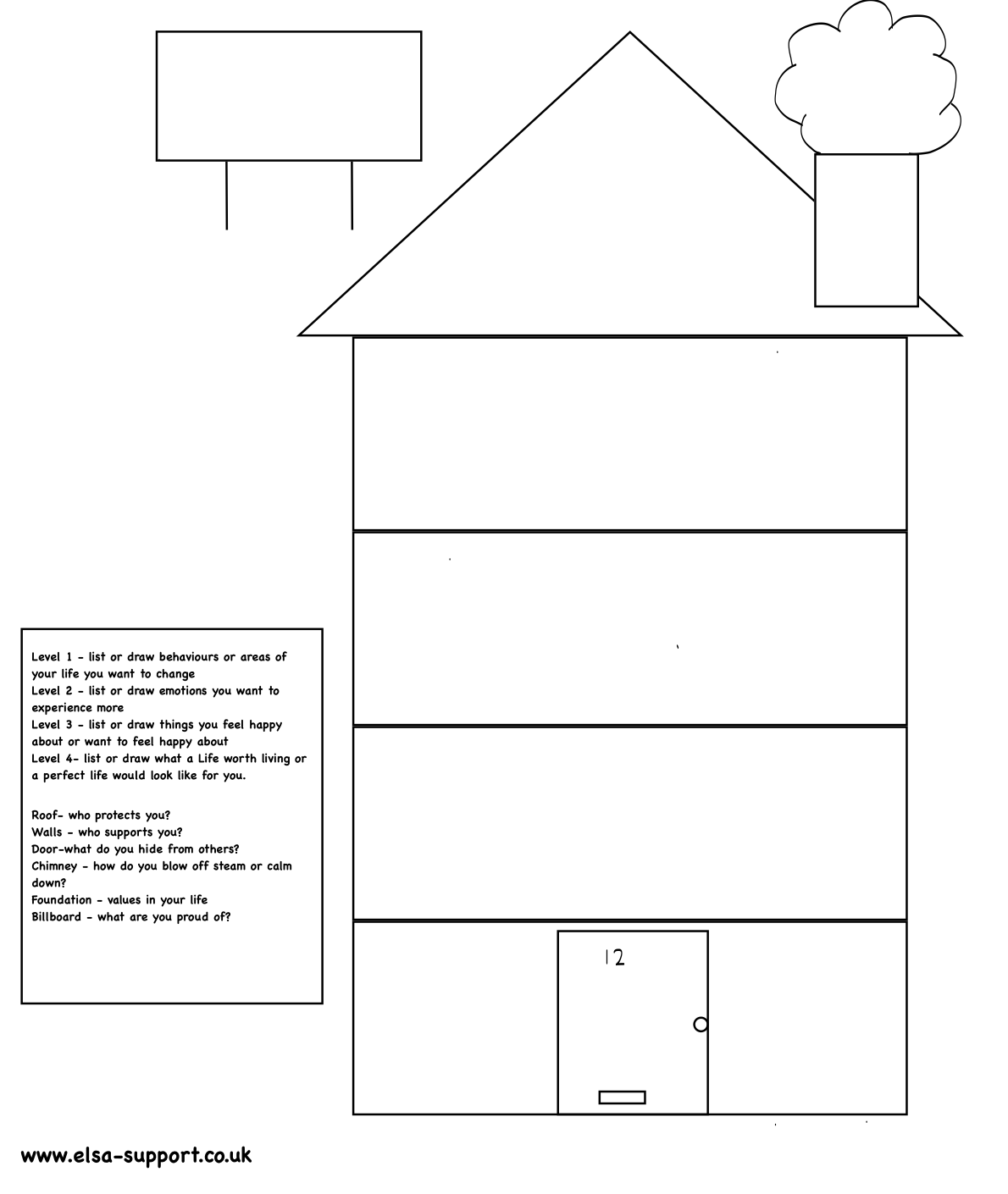 House With Rooms Outline