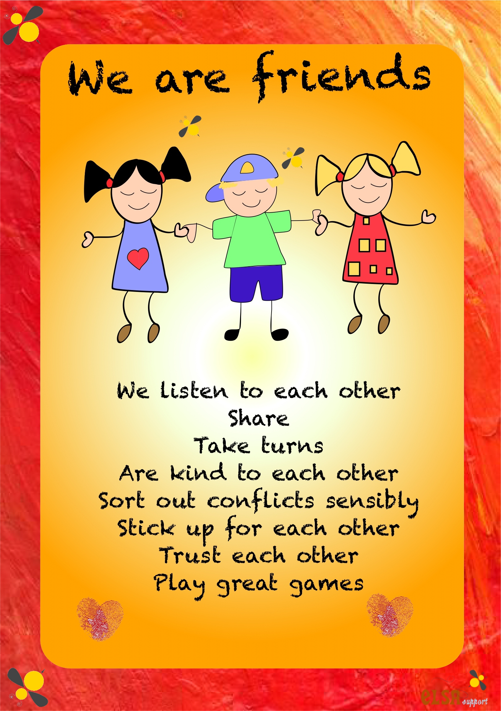 Friendship activities - Elsa Support Friends With Kids Poster