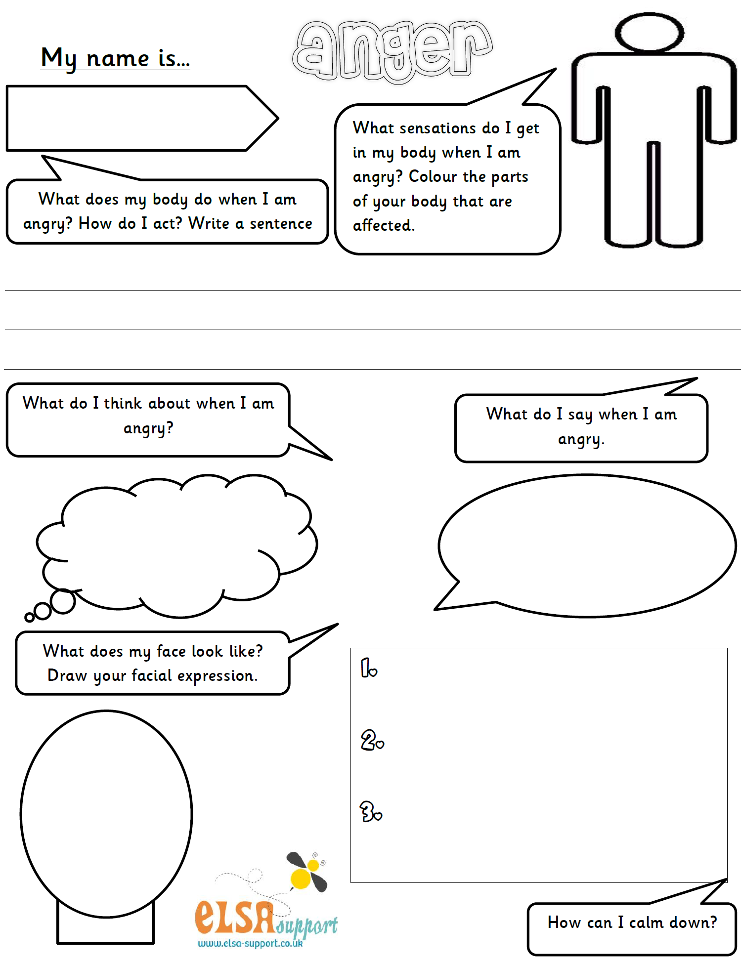 Anger worksheet Elsa Support – Anger Management Skills Worksheets