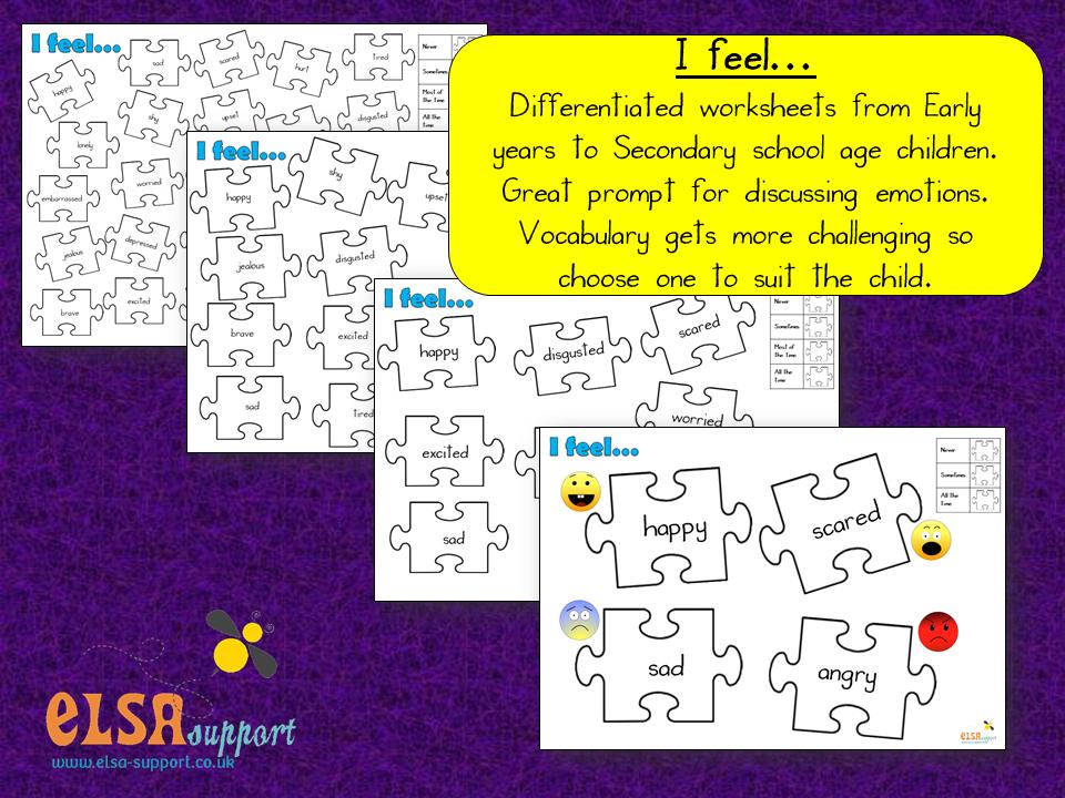 I feel - differentiated worksheets - Elsa Support